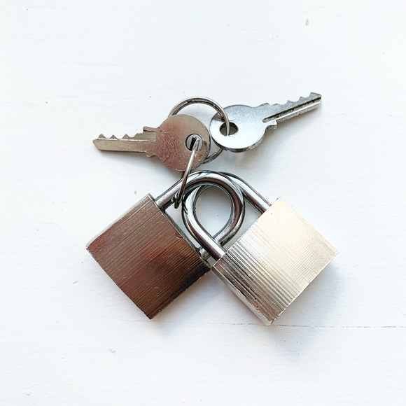 Vintage Other - Set of two small steel padlocks & keys
